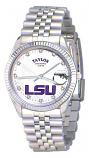 LSU Classic Silver Diamond Watch for Men with White Background and Silver Outline Custom Made by Taylor Watches