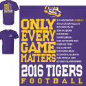 LSU Tigers 2016 Football Schedule T-Shirt - Purple