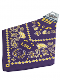 LSU Tigers Paisley Game Day Bandanna - Purple and Gold