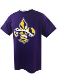 LSU Tigers Adult Tiger Eye Fleur de Lis Cotton T-Shirt - Purple