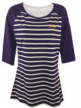 LSU Tigers Cutter & Buck Women's 3/4 Raglan Sleeve Striped Top - Purple and White