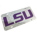 LSU Tigers Mirrored Diamond Back Acrylic Laser Cut License Plate - Mirrored