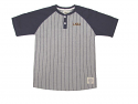 LSU Tigers YOUTH Troy Striped Baseball Shirt - Grey and Purple