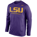 LSU Tigers Men's Long Sleeve Dri-FIT Football Practice Shirt - Purple