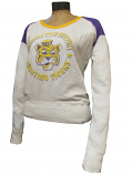 LSU Tigers Women's Distressed Shot Long Sleeve Scoop Neck Top - Off White