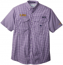 Columbia LSU Tigers Men's Gingham Super Bonehead Performance Fishing Shirt - Purple and White