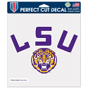 "LSU Tigers Helmet Die Cut 8"" x 8"" Decal - Purple, Gold and White"