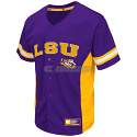 Colosseum LSU Tigers Men's Strike Zone Baseball Jersey - Purple and Gold