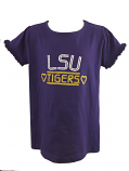 LSU Tigers Child Girl's Ruffle Tee - Purple
