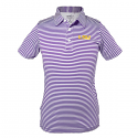 LSU Tigers Toddler Carson Polyester Stripe Polo - Purple and White