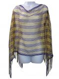 Purple and Gold Game Day Woven Poncho - Purple and Gold