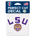 "LSU Tigers 4"" x 4"" Helmet Perfect Cut Decal"
