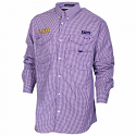 Columbia LSU Tigers Men's Gingham Super Bonehead Long Sleeve Performance Fishing Shirt - Purple and White