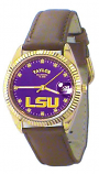 LSU Classic Brown Leather Diamond Watch for Men with Purple Background Custom Made by Taylor Watches