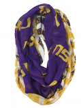 LSU Tigers Logo and Tiger Stripe Infinity Scarf - Purple, Gold & White
