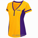 Colosseum LSU Tigers Women's Outfield Baseball Jersey Tee - Gold & Purple