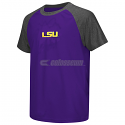 Colosseum LSU Tigers Youth Get Out Polyester Short Sleeve Raglan Tee - Purple & Grey