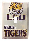 LSU Tigers Single Metal Switch Plate Cover - White