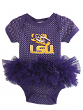 LSU Tigers Infant Onesie Tutu - Purple and White Dot