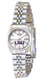 LSU Classic Silver Diamond Watch for Women with White Background and Silver Outline Custom Made by Taylor Watches
