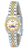 LSU Classic 2-Tone Diamond Watch for Women with White Background Custom Made by Taylor Watches