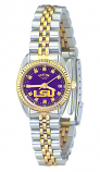 LSU Classic 2-Tone Diamond Watch for Women with Purple Background Custom Made by Taylor Watches
