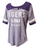 LSU Tigers Women's Vintage Touchdown Jersey Tee - Heather Purple
