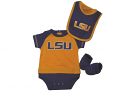 Genuine Stuff LSU Tigers Infant 3-Piece Creeper, Bootie and Bib Set - Purple and Gold