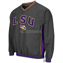 Colosseum LSU Tigers Men's Fair Catch V-Neck Windbreaker - Charcoal