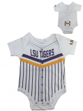 LSU Tigers Infant Baseball Onesie - White