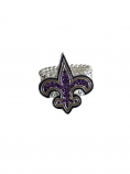 Game Day Purple and Gold Crystal Stretch Fleur de Lis Ring