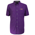 LSU Tigers Antigua Plaid League Button Down Shirt - Purple