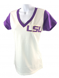 LSU Tigers Women's V-Neck Tee with Pocket - White and Purple