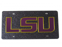 LSU Tigers Laser Cut Glitter LSU Logo License Plate - Black