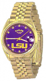 LSU Classic Gold Diamond Watch for Men with Purple Background Custom Made by Taylor Watches