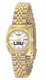 LSU Classic Gold Diamond Watch for Women with White Background Custom Made by Taylor Watches