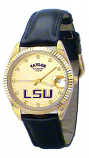 LSU Classic Black Leather Diamond Watch for Men with Gold Background Custom Made by Taylor Watches