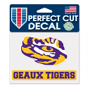 "LSU Tigers Geaux Tigers Eye Die Cut 4""x5"" Decal - Purple, Gold, and White"