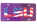 LSU Tigers Glossy Patriotic License Plate - Purple, Red, White & Blue