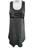 LSU Tigers Women's Distressed Racer Back Tank Top - Charcoal