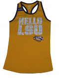 LSU Tigers Girl's Youth Hello LSU Glitter Racer Back Tank Top - Gold