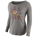 LSU Tigers Women's Long Sleeve Rewind Jersey Fabric Top - Dark Grey Heather