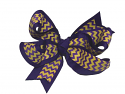 Gameday Chevron Large Wrap Grograin Ribbon Bow - Purple and Gold