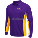 LSU Tigers Chip Shot Long Sleeve Polyester Polo - Purple and Gold