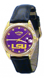LSU Classic Black Leather Diamond Watch for Men with Purple Background Custom Made by Taylor Watches