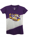 LSU Tigers Girl's Dip Dye Glitter Tee - Purple and White