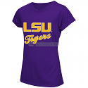 Colosseum LSU Tigers Girl's Youth Daisy Sparkle V-Neck Short Sleeve Tee - Purple