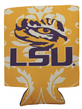 LSU Tigers Damask Can Coozie - Gold, White & Purple