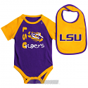 LSU Tigers Colosseum INFANT Rookie Onesie with Bib - Purple & Gold