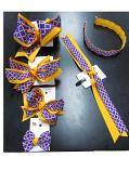 Purple and Gold Quatrefoil Hair Accessories (price per style)